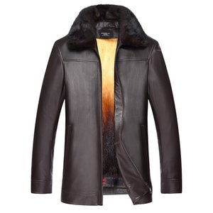 Wholesale 2019 Sale New Genuine Leather Jacket For Men With Sheepskin To Overcome Golden Mink Taking Off Inner Gallbladder Fur Coat For
