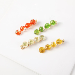 Wholesale Fresh Resin Flower Hairpin Headwear Simple Hair Clip Duckbill Clip Side Accessories Crystal Bead Fill With Flower Hair