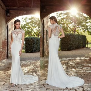 Gorgeous Eddy K New Couture 2019 Mermaid Wedding Dresses Country Garden Style High Neck Sheer Appliques Button Covered Back Boho Bridal Gown