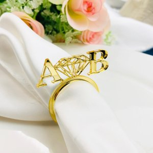 Wholesale Personalized table decoration Diamond Gold Napkin Ring Custom Wedding napkin rings Acrylic Cut Ring with Heart Initials