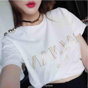 Wholesale Top quality men women Paris Brand Gold buckle T shirt woman man cotton Short sleeve t shirts for women Tops Tees