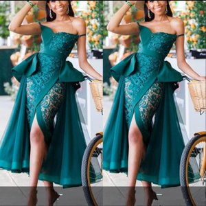 Wholesale Hunter Green Evening Cocktail Dresses with Overskirt 2020 Off Shoulder Sexy Peplum Lace And Tulle Front Split Tea-length Prom Gowns