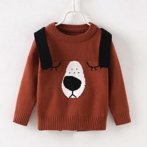 Wholesale LHB46 Kids Girls Cute Dog Print Long sleeve Sweater