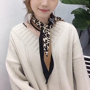 Wholesale Womens Fashionable Leopard Print Soft Silk Scarf Korean Style Diamond Shaped Chic Female Autumn Spring Neck Scarf