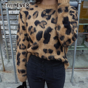 Wholesale CHICEVER Spring Leopard Print Women Pullovers Sweater O Neck Long Sleeve Loose Slim Female Top Clothing Fashion Korean New