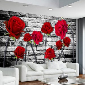 Custom Wall Mural Photo 3D Stereoscopic Embossed Non-woven Wallpaper Red Rose Brick Wall Papers Home Decor Living Room Bedroom on Sale