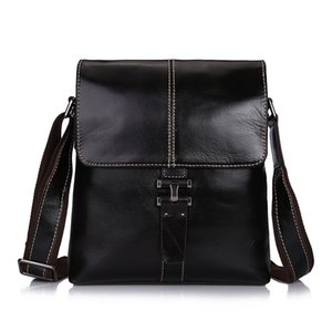 Wholesale men s Genuine Leather Vintage Shoulder Messenger Bag male Casual multifunction Small Crossbody Flap hangbag man Messenger Bags