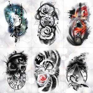Cheap Temporary Tattoos Family Rose Time clock Skull Temporary Tattoo Sticker Scorpion Tower Waterproof Tattoos Body Art Arm Fake Tatoo Men