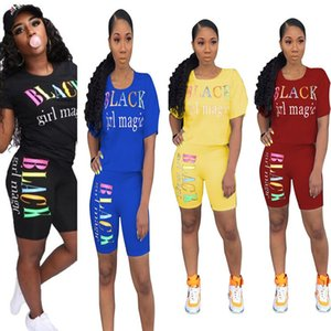 Wholesale Fashion Women Two Pieces Outfits Designer Tracksuits Black girl magic Color letter print Luxury T shirt Shorts Summer Clothes C7801