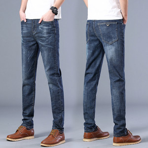 Wholesale 2020 Jeans Designer Dark Blue Retro Distressed Dark Blue Jeans Fashion Casual Jeans Skinny Hip Hop Pencil Pants Men Slim Men