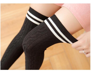 Wholesale Fashion Women Flower Stripes Over Knee high stockings Thigh high stocking socks colors drop shipping cotton Black