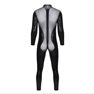 Wholesale latex sex uniform for sale - Group buy man latex lingerie sex open crotch teddies bodysuits gay men see through jumpsuit night club bar stage uniforms male