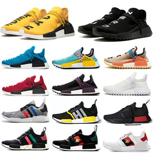 Wholesale NMD Human Race TR Brand OG Classic R1 XR1 Pharrell Williams Hu Trail Running Shoes For Men Women Nerd Black Canvas Yellow Trainer
