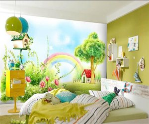 Wholesale wallpaper rainbow resale online - custom size d photo wallpaper bed room mural Rainbow Little Red House kids d picture sofa TV backdrop wallpaper non woven wall sticker