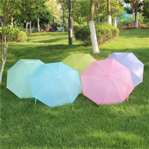 Wholesale Candy Color Umbrellas Frosted Solid Candy Color Long Handle Umbrella Automatic Bone PVC Umbrellas Rainbow Solid Color Umbrellas