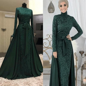 Wholesale Elegant Dark Green Muslim Evening Dresses Detachable Train Formal Dress 2019 High Neck Long Sleeve Prom Dress Full Lace Arabic Evening Gowns