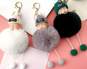 Wholesale baby sleep bags resale online - Sleeping Baby Keychains Fluffy Pompom Doll Key Chain Dream Baby Car Keyring Rabbit Hair Ball Bag Pendant Party Favor GGA3090
