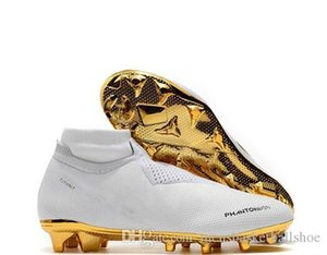 New Arrivaled White Gold Wholesale Soccer Cleats Ronaldo CR7 Original Soccer Shoes Phantom VSN Elite DF FG Football Boots on Sale