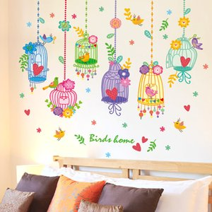 Wholesale SHIJUEHEZI Lovely Birds Flowers Birdcage Wall Stickers PVC Material Wall Decals DIY for Kids Rooms Nursery School Decoration