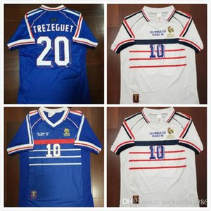 Wholesale 98 Retro Soccer Jerseys Zidane Trezeguet Maillot FRANCe Djorkaeff Henry Deschamps 1998 Classic Shirts Vintage Kits football Shirt Maillot