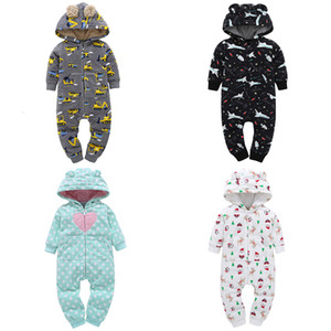Wholesale Baby Coveralls Long Sleeve Fleece Ear Hooded Bebe Girl Clothes Baby Rompers Coat Girls Boy Fall Winter Christmas CostumeMX190912
