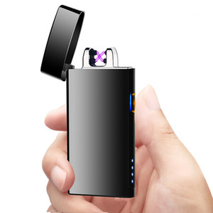 Plasma arc Lighter Double arcs Electrical USB Rechargeable windproof cigarette Lighter touch sensitive control ignition power display C03000