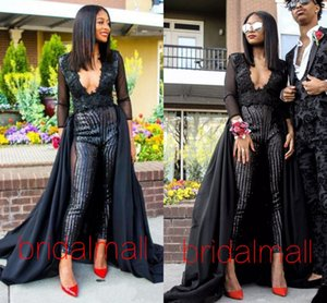 Wholesale Women Jumpsuits Deep V Neck Black African Prom Dresses Overskirts Formal Evening Dresses Sexy Celebrity Party Gowns vestidos de fiesta