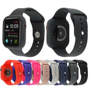 Silicone Case With Band For Apple Watch 40mm 44mm Soft Silicone Sports Strap For iWatch Band 38mm 40mm
