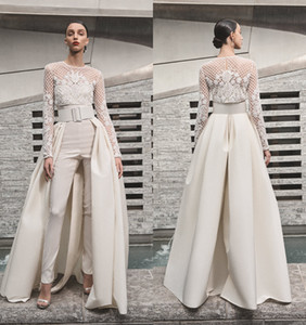 Wholesale 2019 Beach Wedding Dresses Women Jumpsuits With Detachable Skirt Satin Sweep Train Sweetheart Country Bridal Gowns With Jacket Long Sleeve