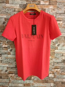 Wholesale Balmain Mens Designer T Shirts Black White Red Mens Fashion Designer T Shirts Top Short Sleeve S-XXL