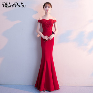 Wholesale Sexy Boat Neck Off The Shoulder Wine Red Mermaid Evening Dresses Plus Size Luxury Appliques Beading Long Prom Dresses
