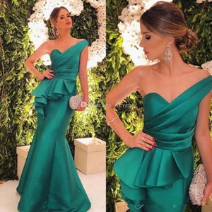 Wholesale 2019 New Hunter Sexy One Shoulder Formal Evening Dresses Floor Length Satin Mermaid Prom Gowns Cheap Vintage Party Wear
