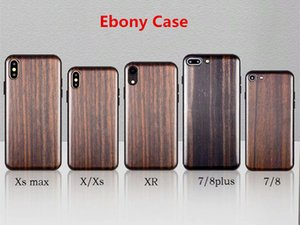 Wholesale Real Ebony Wood Case TPU For iPhone X XS Max XR Hard Cover Carving Wooden Smartphone Shell Protector