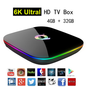Wholesale Allwinner H6 Android 9.0 TV Box 6K Ultral HD Streaming Media Player 4G 32G Quad Core Smart Mini PC 2.4G Wifi Q Plus Set Top Boxes USB 3.0