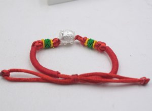 Wholesale Fine Sterling Silver S925 D Pig Red Rope Knitted Bracelet cmL Women Girl Baby Luck Fashion Bracelet