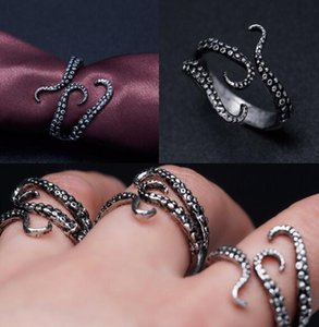 Wholesale Titanium Steel Gothic Deep Sea Monster Squid Octopus Finger Tentacles Ring Fashion Jewelry Opened Adjustable Size Gift
