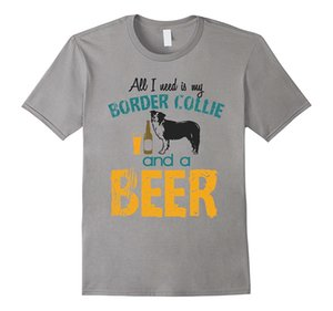 Wholesale men shirt All I Need Is My Border Collie Dog And A Beer t Shirt Men s Short Sleeve T Shirt Streetwear tees