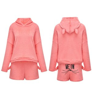 Wholesale Women Cartoon Hoodies Suit Two Piece Woman Set Cat Embroidered Sweatshirts Plus Size Long Sleeve Pullover Winter