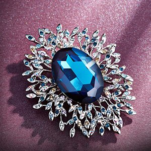 2019 new crystal brooch high-end beauty retro simple alloy pin brooch