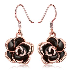 Wholesale Romantic Earrings Rose Gold Plated Rose Flower Pattern Tin Alloy Dangle Chandelier Earring Elegant Jewelry Valentine s Day Gifts POTALA008