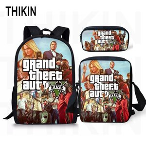 Wholesale THIKIN Grand Theft Auto Printing Backpack for Teenage Boys Girls Student Fashion SET School Bags GTA V Children Daily Bags
