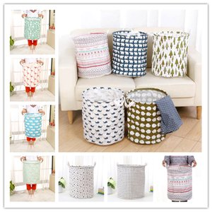 Wholesale Large size storage bucket designs folding storage baskets kids room toys clothing storage bags cotton and linen clothing laundry bag
