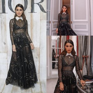 Sexy Black High Neck Long Sleeves Evening Party Dresses 2019 New Cheap A Line Tulle Long Prom Gowns Lace Sequins Formal Party Dress on Sale