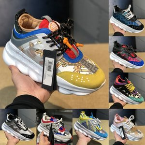 Wholesale Most Popular Chain Reaction Black Multi Color Designer Shoes Mens Womens Discount Price Link Embossed Sole Casual Trainer US