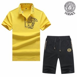 Wholesale Summer 2019 high-end new cotton short-sleeved two-piece sportswear casual handsome hot sports suit personality men 608 8168