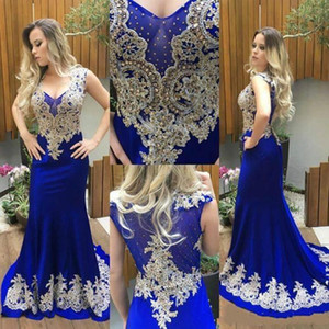 Wholesale 2019 Gorgeous Royal Blue Mermaid Evening Dresses Beaded Gold Lace Applique Satin V Neck Sleeveless Sweep Train Party Prom Gowns