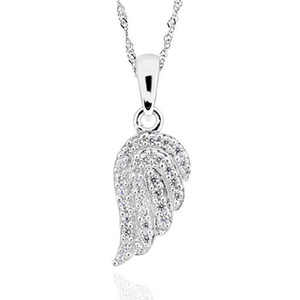 Wholesale Sterling Silver Cubic Zirconia Angel Wing Pendant Necklace quot Chain