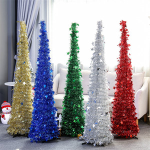 Wholesale Collapsible Christmas Tree Artificial Tinsel Pop Up Xmas Tree for Small Spaces Home Party Holiday Christmas Decorations JK1910