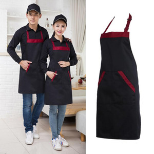 Half Kitchen Apron Cooking Chef Catering Halterneck Bib with 2 Pockets Sleeveless Aprons for Woman Men Black Red