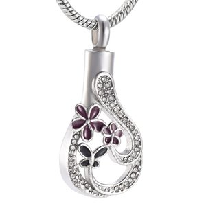 Wholesale IJD9973 Purple Flower With Little Butterfly Keepsake Jewelry Crystal Teardrop Stainless Steel Cremation Memorial Urn Pendant